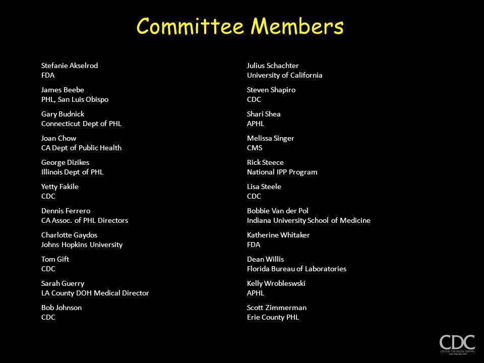 Committee Members Stefanie Akselrod FDA Julius Schachter University of California James Beebe PHL, San Luis Obispo Steven Shapiro CDC Gary Budnick Con