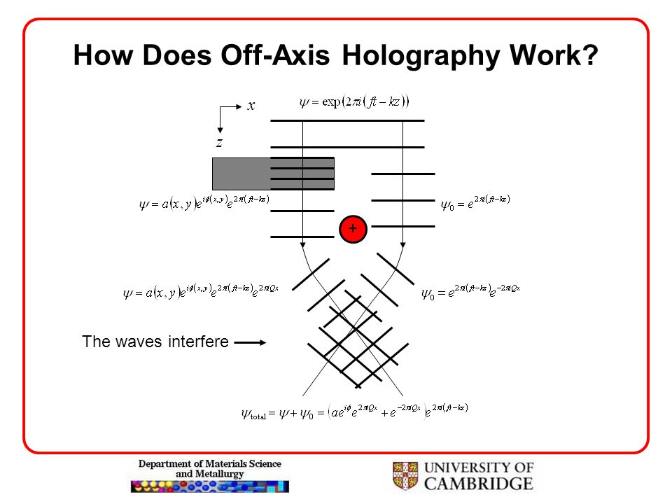 How Does Off-Axis Holography Work? + z x The waves interfere