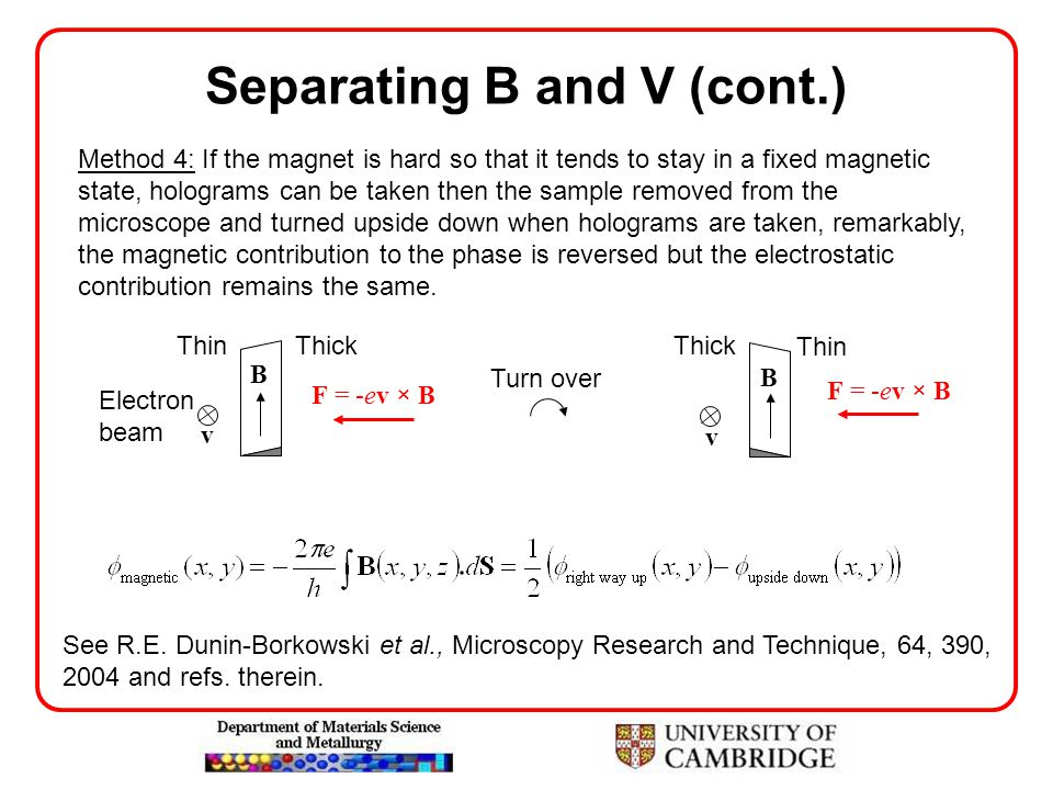 Separating B and V (cont.) Method 4: If the magnet is hard so that it tends to stay in a fixed magnetic state, holograms can be taken then the sample