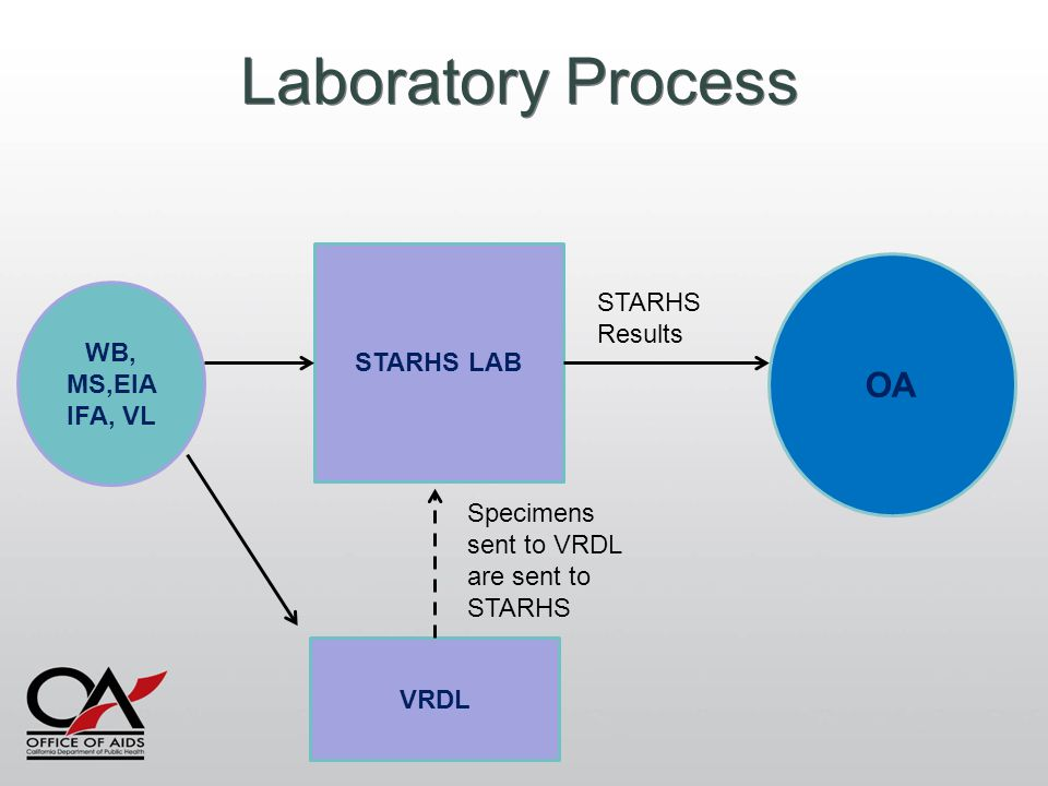 Laboratory Process WB, MS,EIA IFA, VL VRDL STARHS LAB OA Specimens sent to VRDL are sent to STARHS STARHS Results