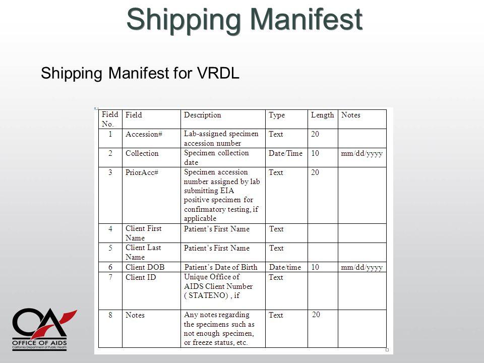 Shipping Manifest Shipping Manifest for VRDL