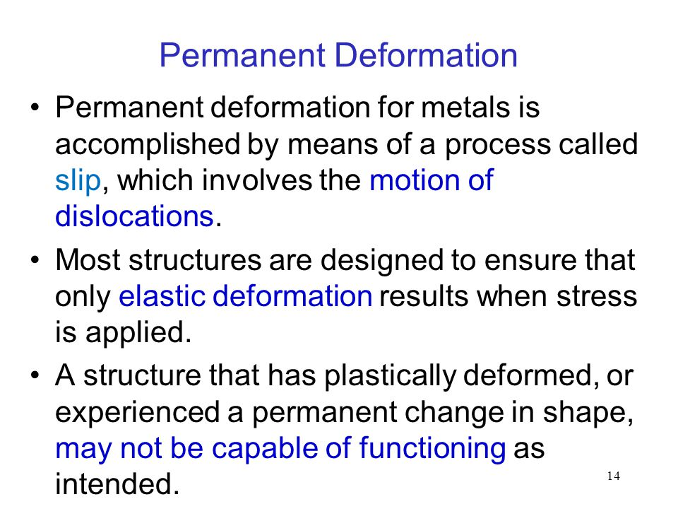 14 Permanent Deformation Permanent deformation for metals is accomplished by means of a process called slip, which involves the motion of dislocations