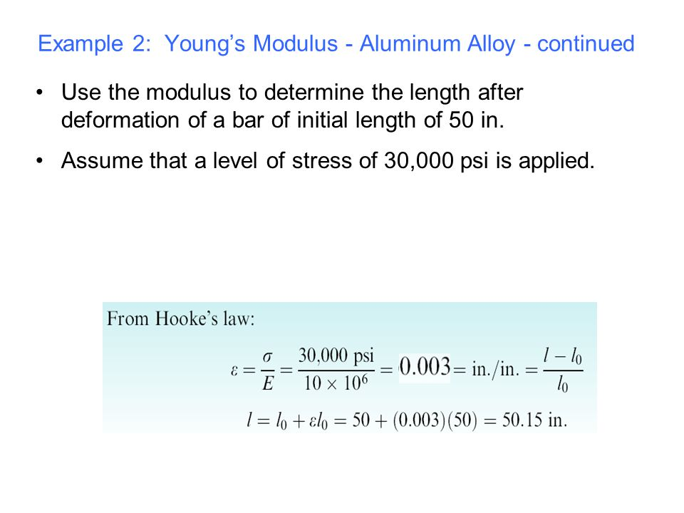 Use the modulus to determine the length after deformation of a bar of initial length of 50 in. Assume that a level of stress of 30,000 psi is applied.