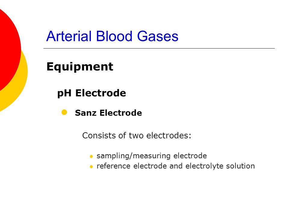 Arterial Blood Gases Equipment pH Electrode Sanz Electrode Consists of two electrodes: sampling/measuring electrode reference electrode and electrolyt