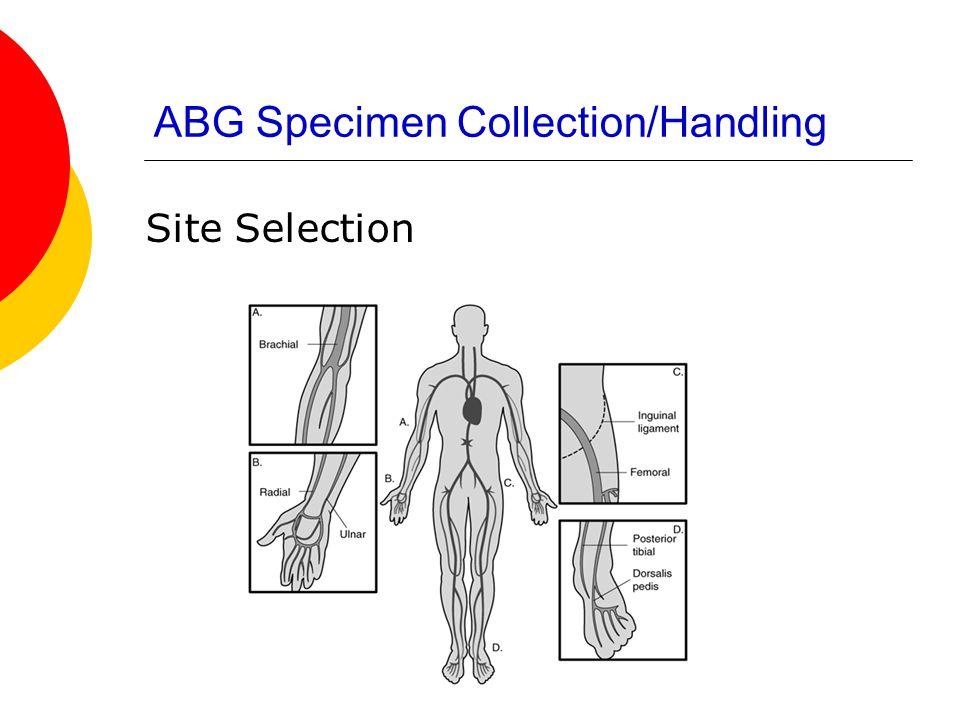 ABG Specimen Collection/Handling Site Selection