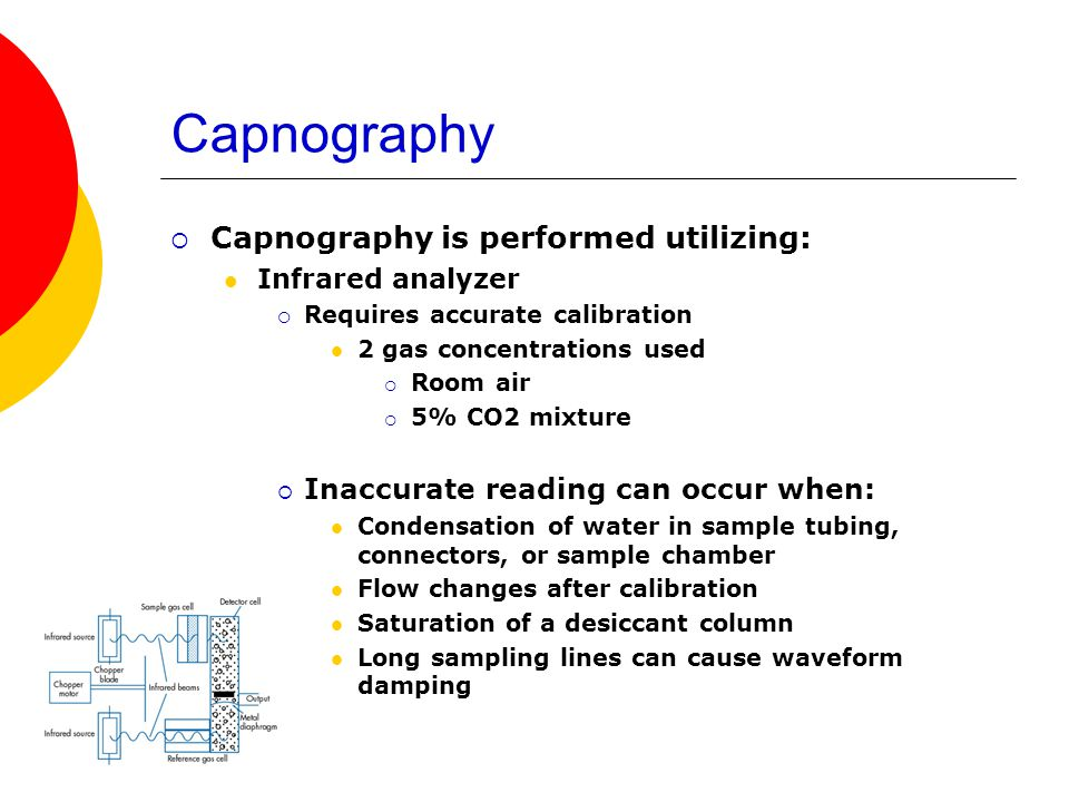 Capnography  Capnography is performed utilizing: Infrared analyzer  Requires accurate calibration 2 gas concentrations used  Room air  5% CO2 mixt