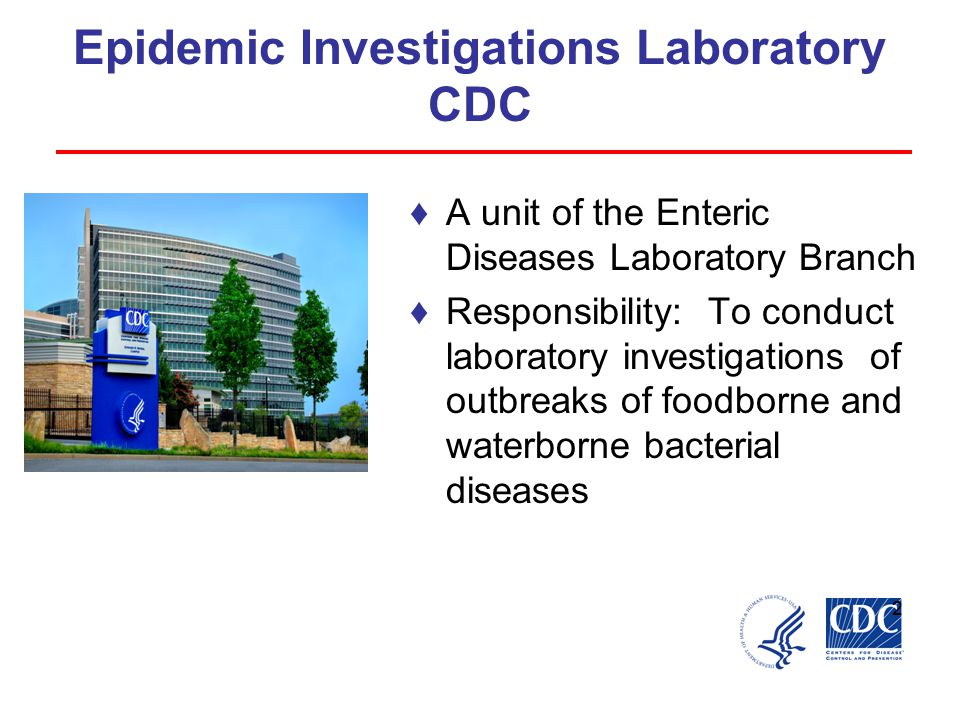 Epidemic Investigations Laboratory CDC ♦A unit of the Enteric Diseases Laboratory Branch ♦Responsibility: To conduct laboratory investigations of outbreaks of foodborne and waterborne bacterial diseases 2
