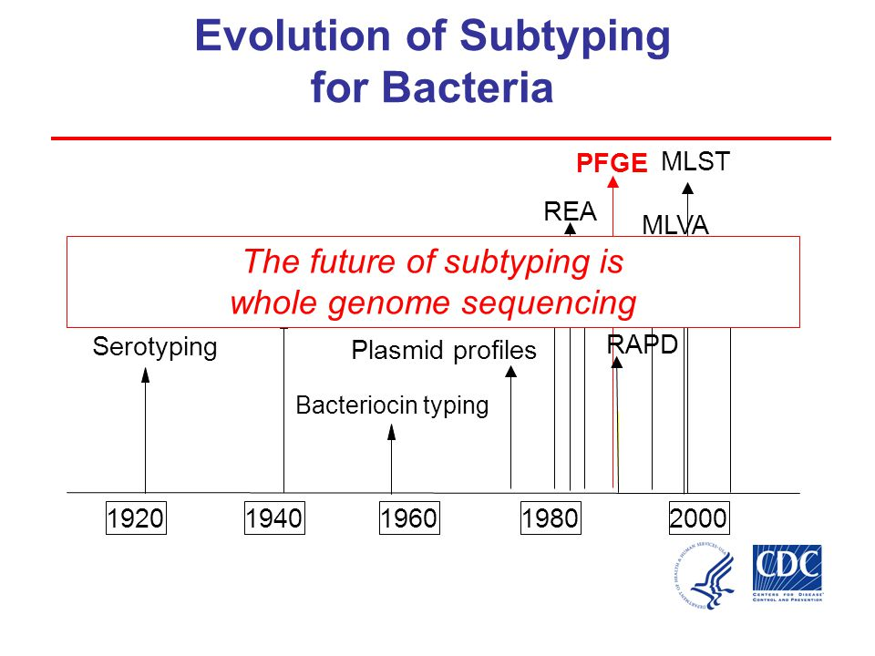 19201940196019802000 Serotyping MEE REA PFGE RAPD MLST Phage typing Bacteriocin typing AFLP * Microarray-based multi-target sequencing Evolution of Subtyping for Bacteria MLVA Ribotyping MBMS* Plasmid profiles The future of subtyping is whole genome sequencing