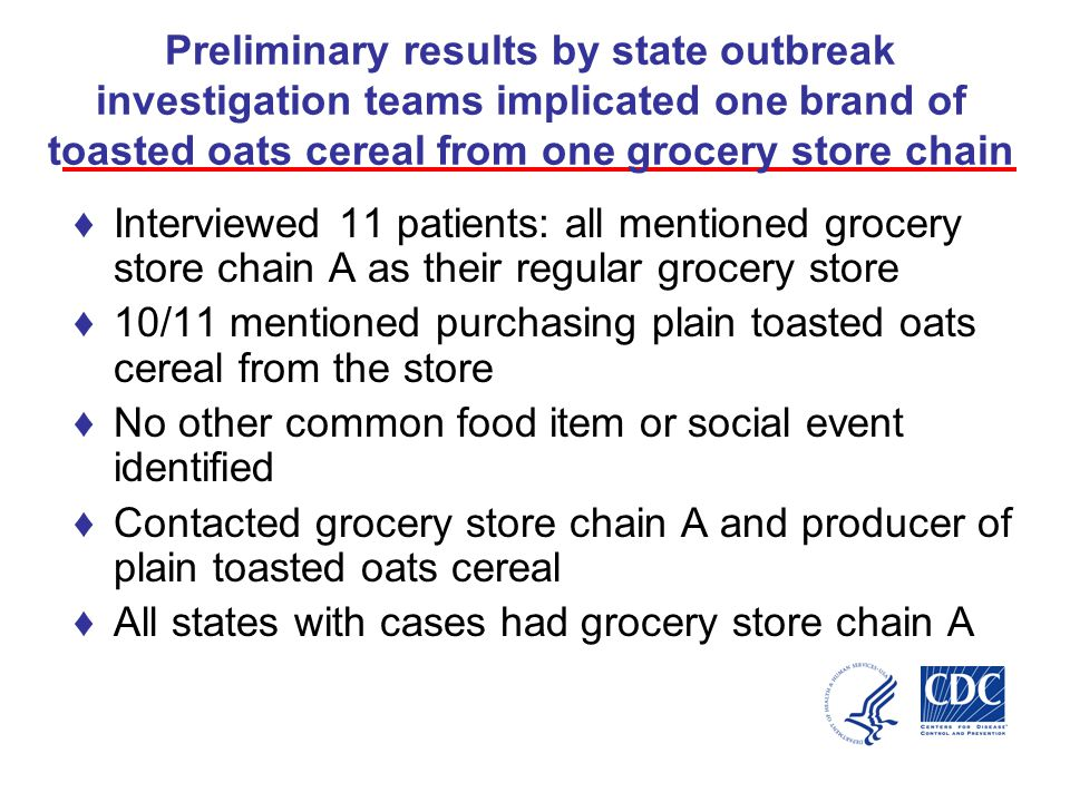 Preliminary results by state outbreak investigation teams implicated one brand of toasted oats cereal from one grocery store chain ♦Interviewed 11 patients: all mentioned grocery store chain A as their regular grocery store ♦10/11 mentioned purchasing plain toasted oats cereal from the store ♦No other common food item or social event identified ♦Contacted grocery store chain A and producer of plain toasted oats cereal ♦All states with cases had grocery store chain A