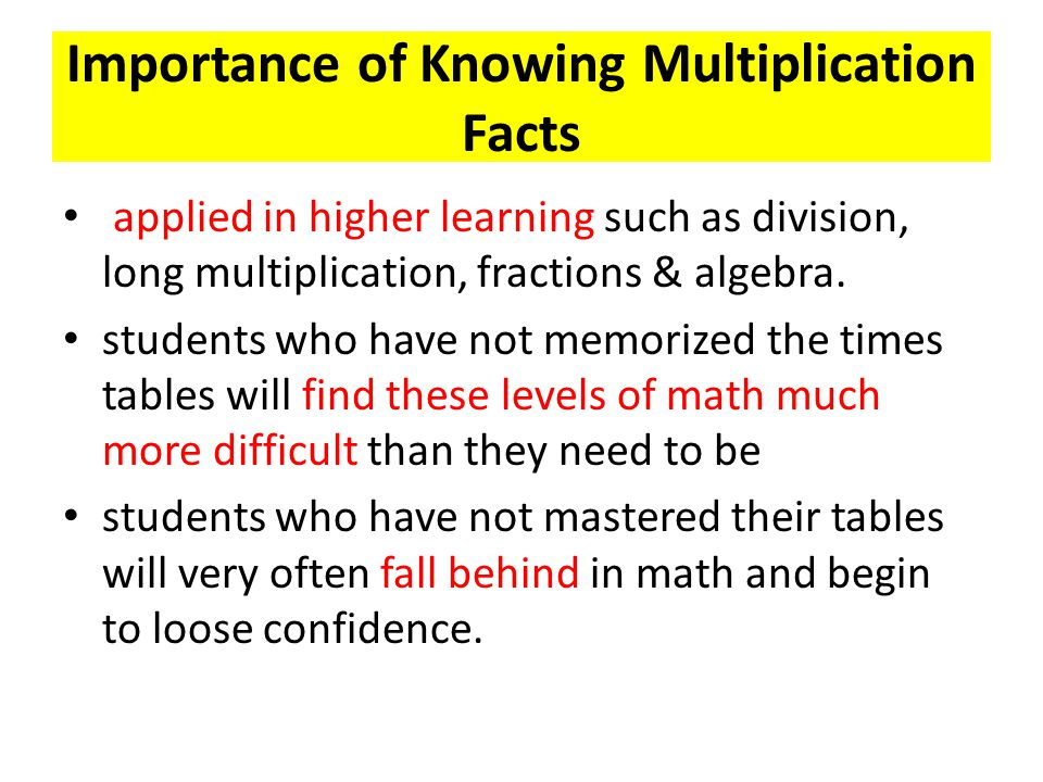 Importance of Knowing Multiplication Facts applied in higher learning such as division, long multiplication, fractions & algebra. students who have no