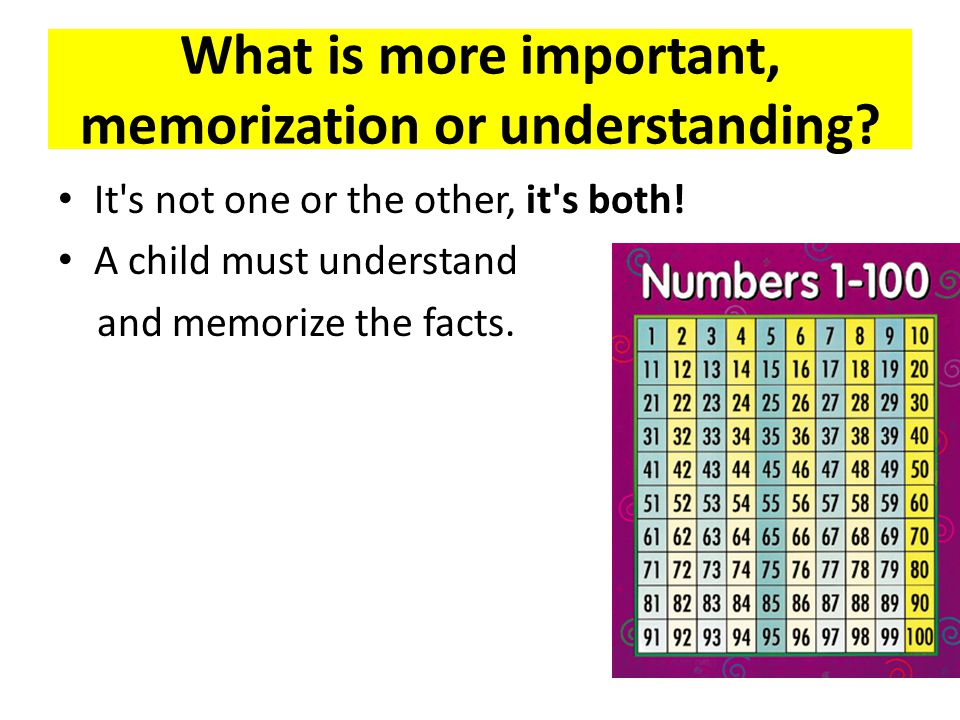 What is more important, memorization or understanding.
