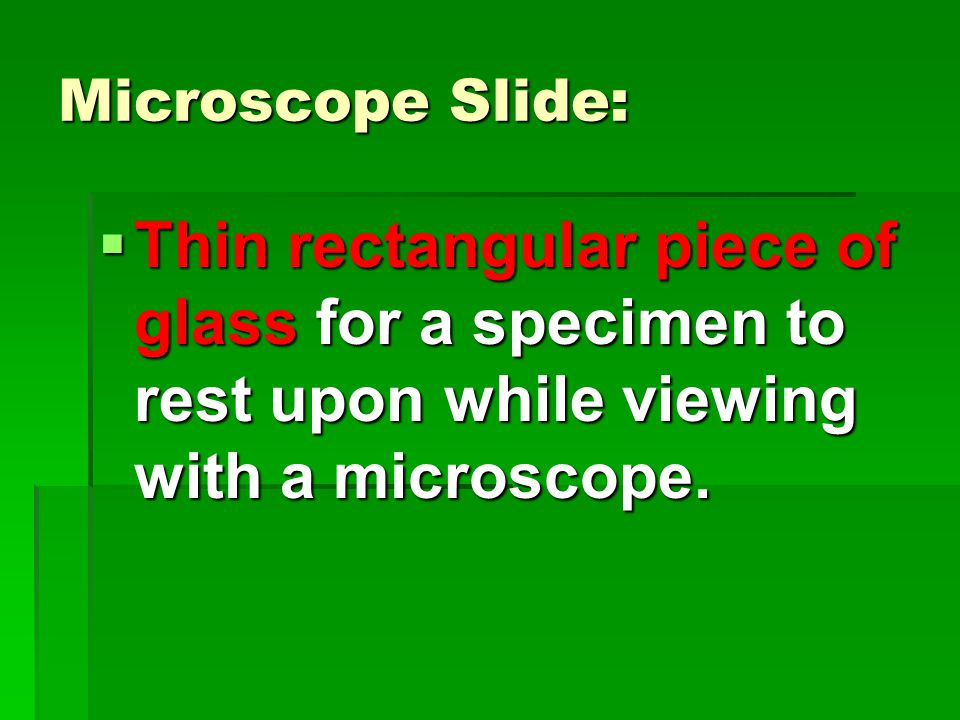 Microscope Slide:  Thin rectangular piece of glass for a specimen to rest upon while viewing with a microscope.