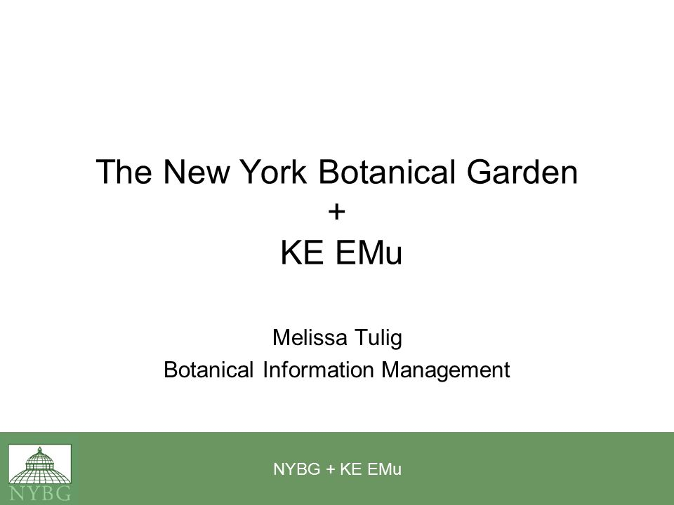 NYBG + KE EMu The New York Botanical Garden + KE EMu Melissa Tulig Botanical Information Management