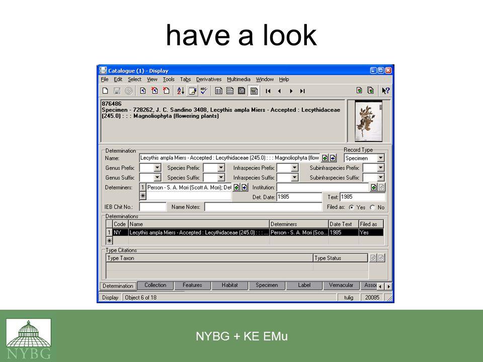 NYBG + KE EMu have a look