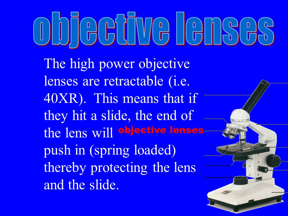 objective lenses The high power objective lenses are retractable (i.e.