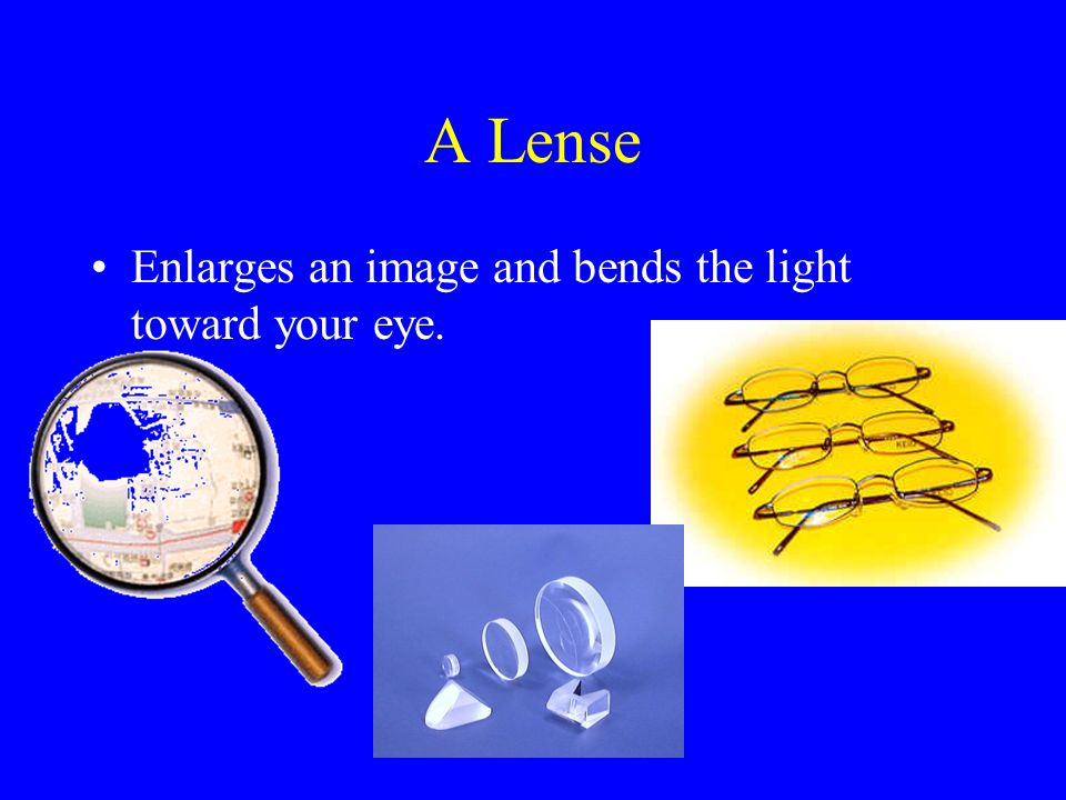 A Lense Enlarges an image and bends the light toward your eye.