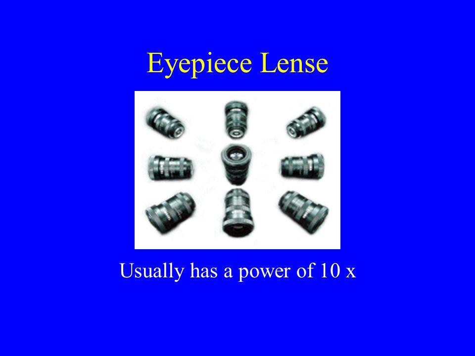 Eyepiece Lense Usually has a power of 10 x