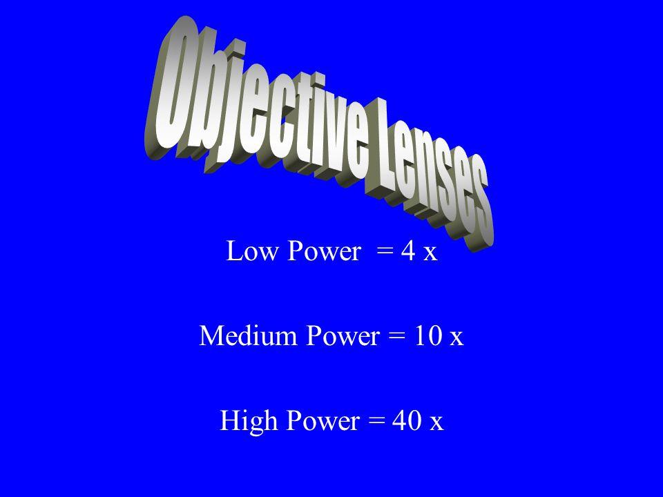 Low Power = 4 x Medium Power = 10 x High Power = 40 x