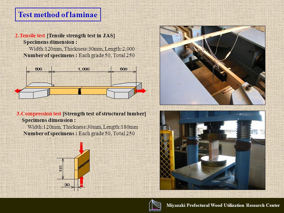 Miyazaki Prefectural Wood Utilization Research Center 2.Tensile test [Tensile strength test in JAS] Specimens dimension : Width:120mm, Thickness:30mm, Length:2,000 Number of specimens : Each grade 50, Total 250 3.Compression test [Strength test of structural lumber] Specimens dimension : Width:120mm, Thickness:30mm, Length:180mm Number of specimens : Each grade 50, Total 250 Test method of laminae