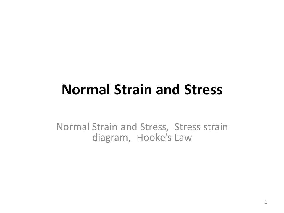 Normal Strain and Stress Normal Strain and Stress, Stress strain diagram, Hooke's Law 1
