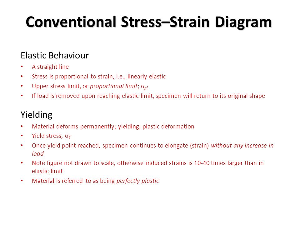 Elastic Behaviour A straight line Stress is proportional to strain, i.e., linearly elastic Upper stress limit, or proportional limit; σ pl If load is