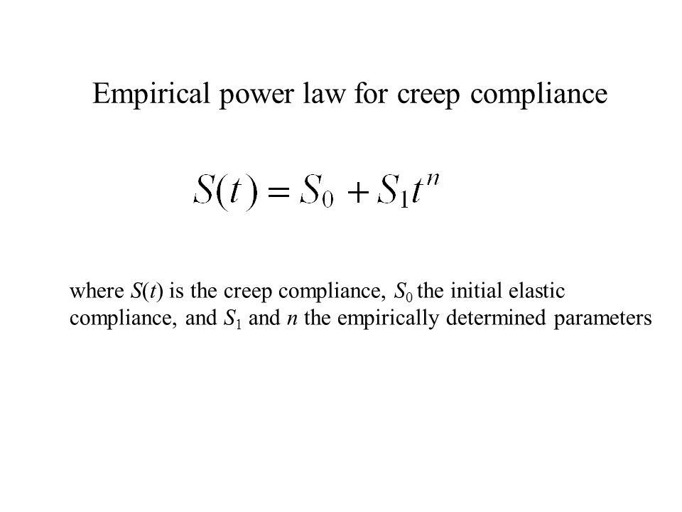 Empirical power law for creep compliance where S(t) is the creep compliance, S 0 the initial elastic compliance, and S 1 and n the empirically determi
