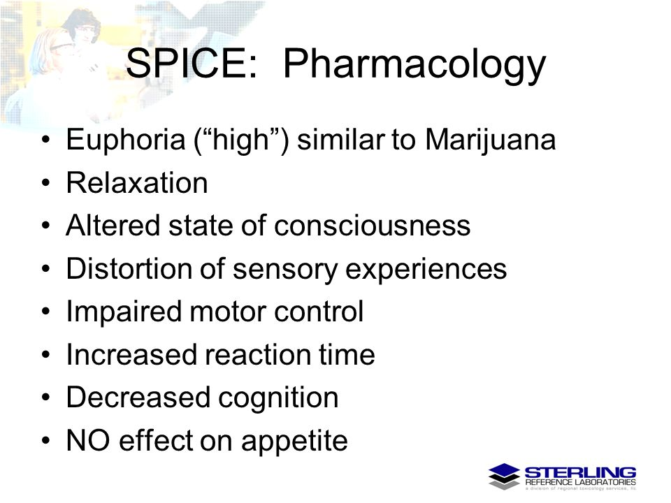 """SPICE: Pharmacology Euphoria (""""high"""") similar to Marijuana Relaxation Altered state of consciousness Distortion of sensory experiences Impaired motor"""