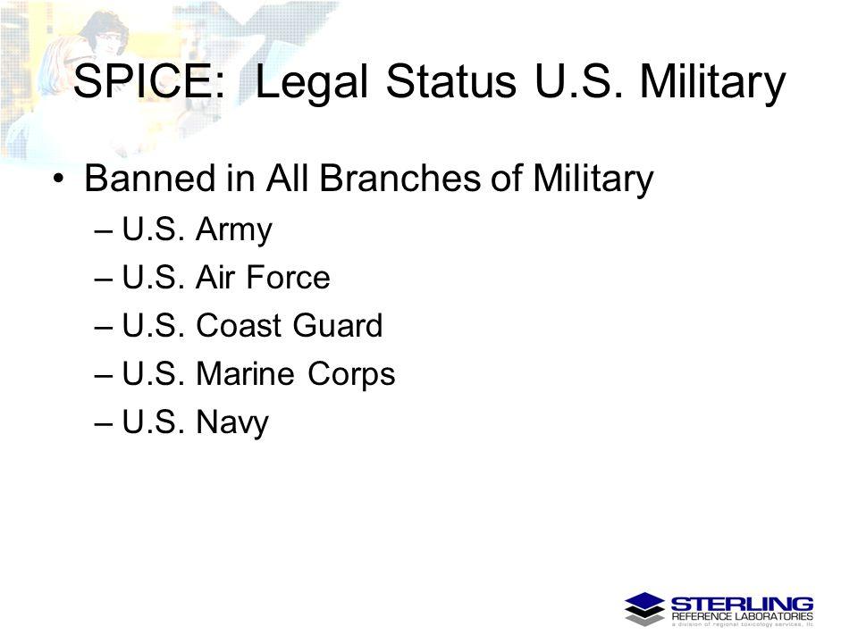 SPICE: Legal Status U.S. Military Banned in All Branches of Military –U.S. Army –U.S. Air Force –U.S. Coast Guard –U.S. Marine Corps –U.S. Navy