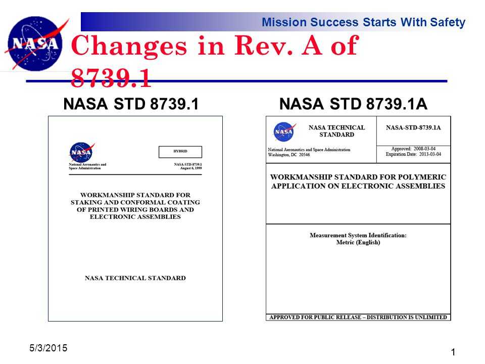 Mission Success Starts With Safety 5/3/2015 1 Changes in Rev. A of 8739.1 NASA STD 8739.1NASA STD 8739.1A 1
