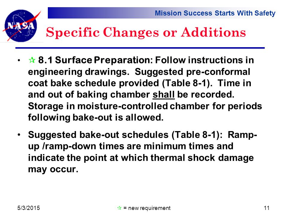 Mission Success Starts With Safety Specific Changes or Additions  8.1 Surface Preparation : Follow instructions in engineering drawings.