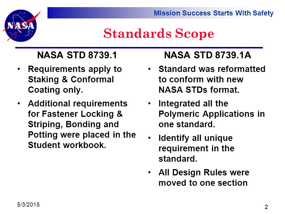 Mission Success Starts With Safety 5/3/2015 2 Standards Scope Requirements apply to Staking & Conformal Coating only.