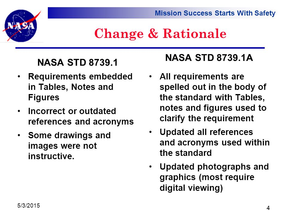 Mission Success Starts With Safety 5/3/2015 4 Change & Rationale Requirements embedded in Tables, Notes and Figures Incorrect or outdated references and acronyms Some drawings and images were not instructive.