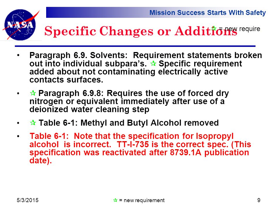 Mission Success Starts With Safety 5/3/20159 Specific Changes or Additions Paragraph 6.9.
