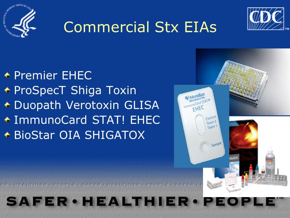 Commercial Stx EIAs Premier EHEC ProSpecT Shiga Toxin Duopath Verotoxin GLISA ImmunoCard STAT! EHEC BioStar OIA SHIGATOX