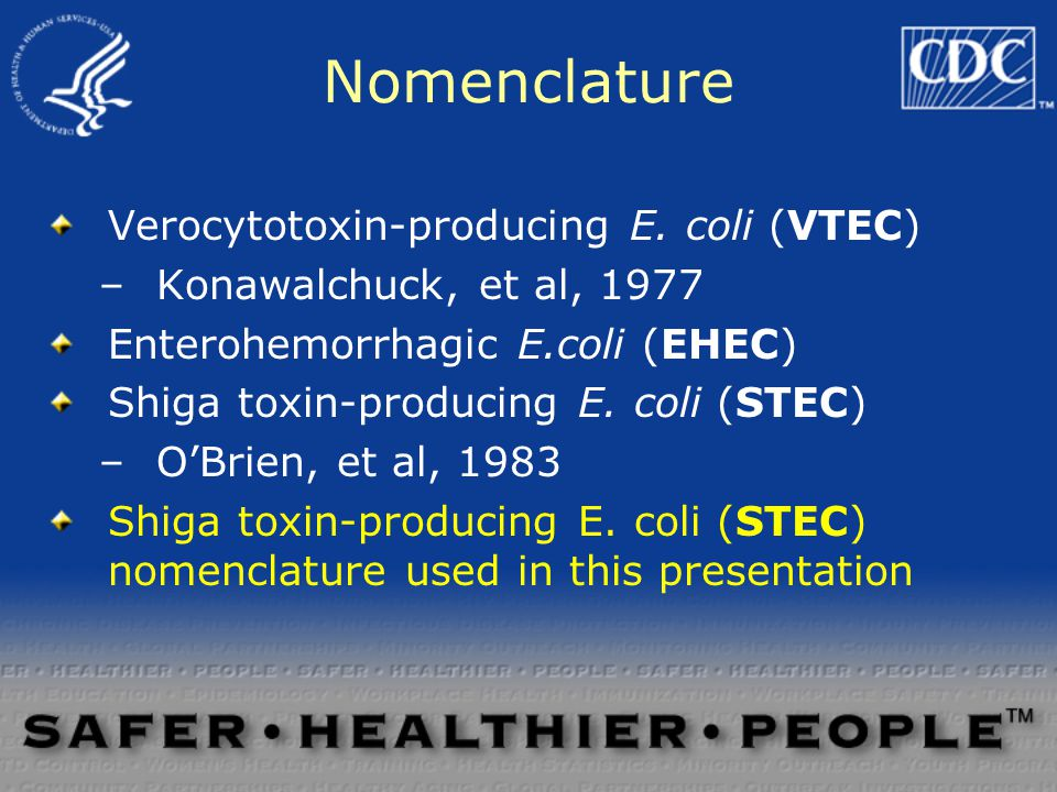 Nomenclature Verocytotoxin-producing E.