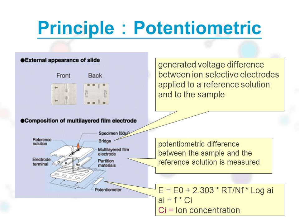 Principle : Potentiometric generated voltage difference between ion selective electrodes applied to a reference solution and to the sample potentiometric difference between the sample and the reference solution is measured E = E0 + 2.303 * RT/Nf * Log ai ai = f * Ci Ci = Ion concentration