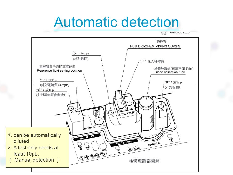 Automatic detection 1.can be automatically diluted 2.