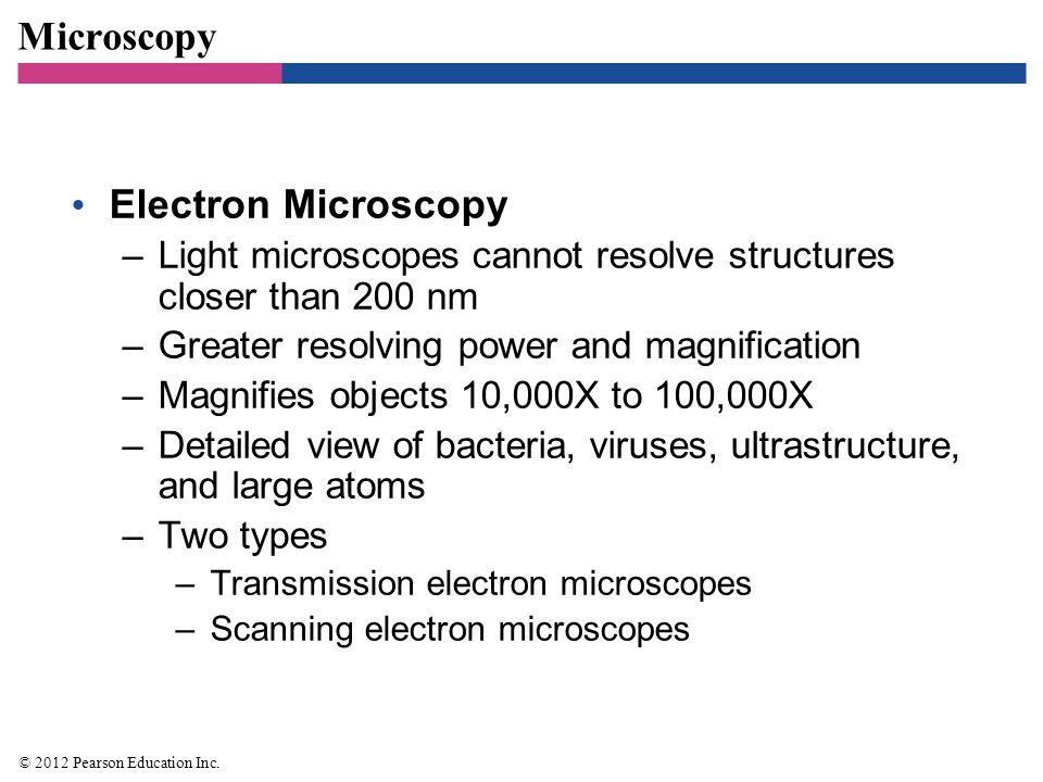 Microscopy Electron Microscopy –Light microscopes cannot resolve structures closer than 200 nm –Greater resolving power and magnification –Magnifies o