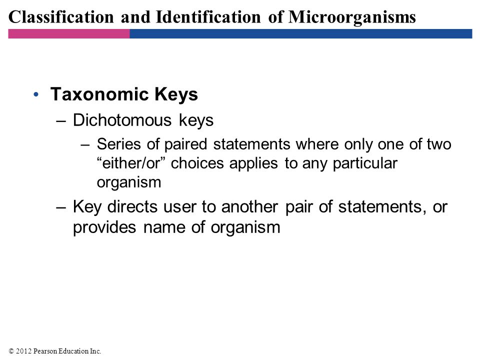 "Classification and Identification of Microorganisms Taxonomic Keys –Dichotomous keys –Series of paired statements where only one of two ""either/or"" ch"