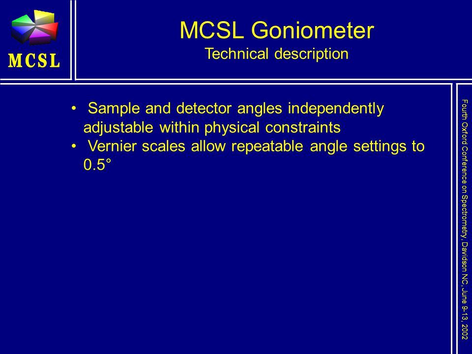 Fourth Oxford Conference on Spectrometry, Davidson NC, June 9-13, 2002 MCSL Goniometer Technical description Sample and detector angles independently adjustable within physical constraints Vernier scales allow repeatable angle settings to 0.5°