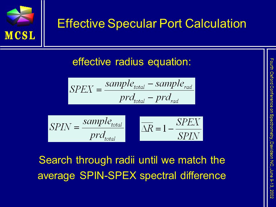 Fourth Oxford Conference on Spectrometry, Davidson NC, June 9-13, 2002 Effective Specular Port Calculation effective radius equation: Search through radii until we match the average SPIN-SPEX spectral difference