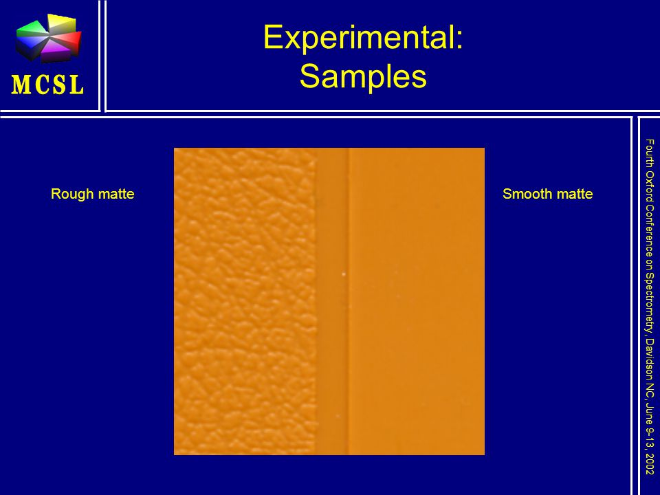 Fourth Oxford Conference on Spectrometry, Davidson NC, June 9-13, 2002 Experimental: Samples Smooth matteRough matte