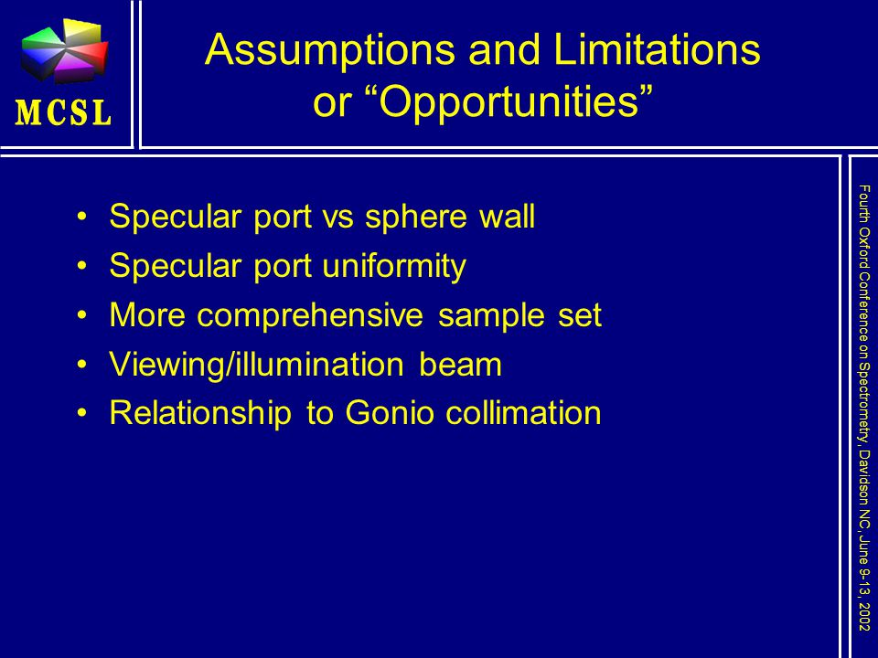 Fourth Oxford Conference on Spectrometry, Davidson NC, June 9-13, 2002 Assumptions and Limitations or Opportunities Specular port vs sphere wall Specular port uniformity More comprehensive sample set Viewing/illumination beam Relationship to Gonio collimation