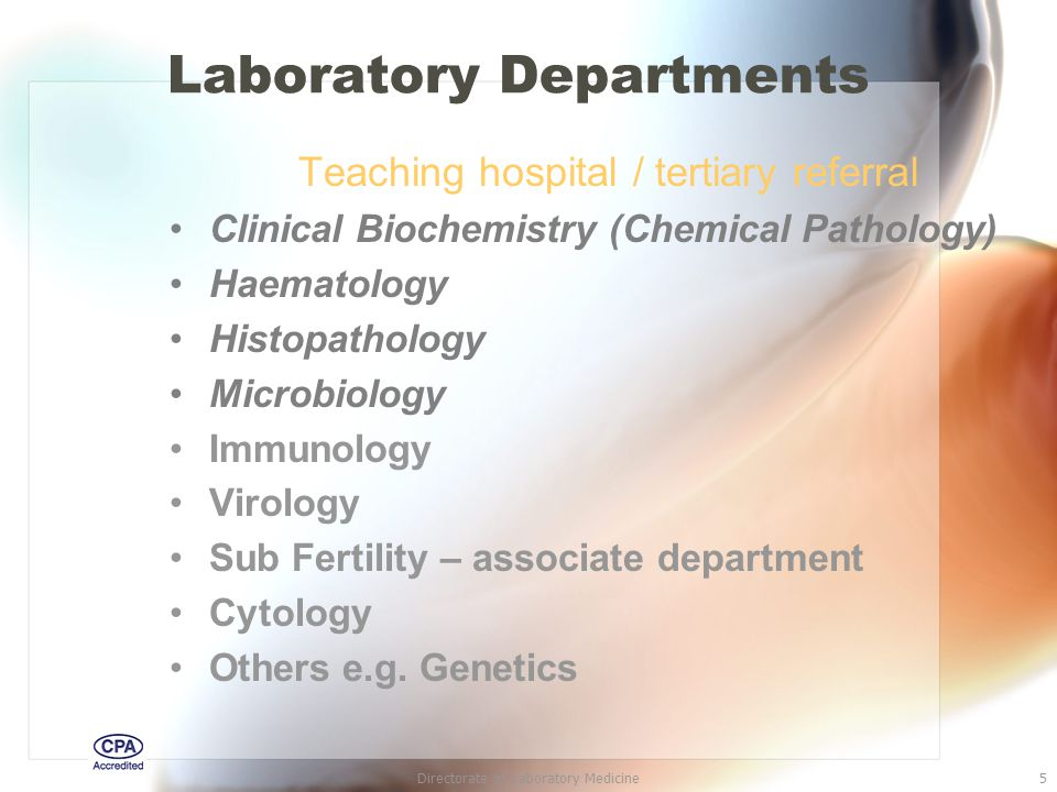 Directorate of Laboratory Medicine26 Other considerations Swabs for culture may need specific transport media e.g.