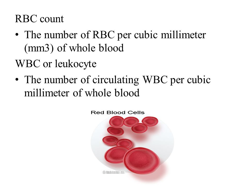 RBC count The number of RBC per cubic millimeter (mm3) of whole blood WBC or leukocyte The number of circulating WBC per cubic millimeter of whole blo
