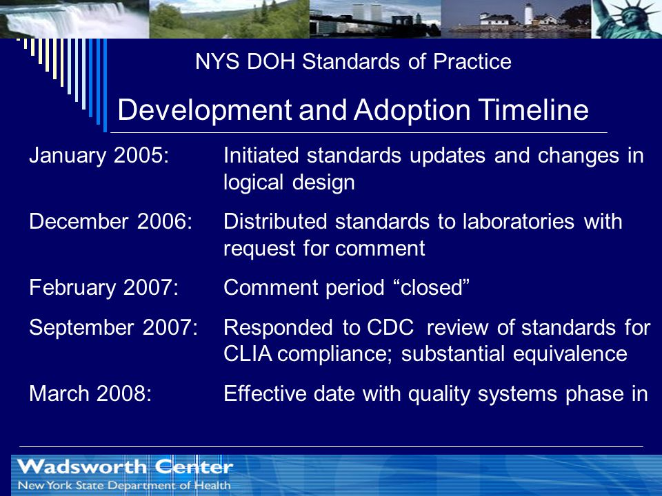 NYS DOH Standards of Practice Development and Adoption Timeline January 2005: Initiated standards updates and changes in logical design December 2006: