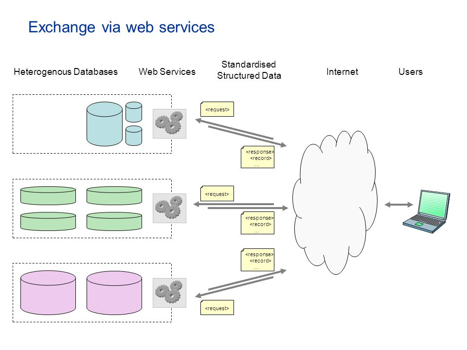 Exchange via web services Heterogenous DatabasesWeb Services … Standardised Structured Data UsersInternet … …