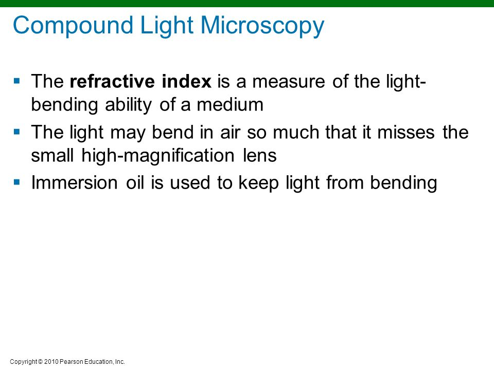 Copyright © 2010 Pearson Education, Inc. Compound Light Microscopy  The refractive index is a measure of the light- bending ability of a medium  The