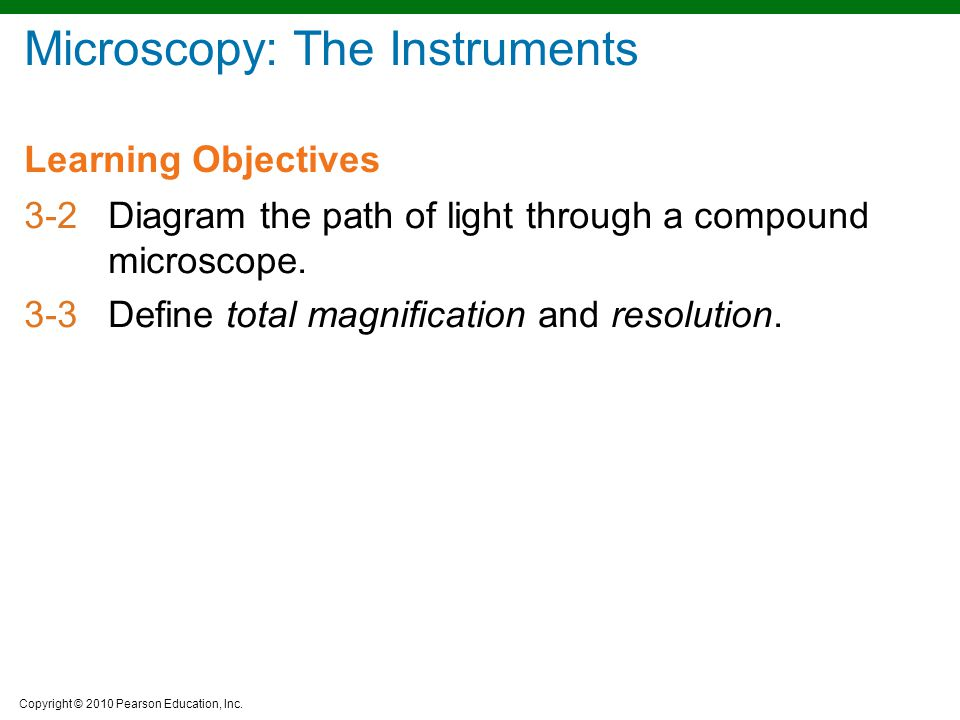 Copyright © 2010 Pearson Education, Inc. Learning Objectives Microscopy: The Instruments 3-2Diagram the path of light through a compound microscope. 3