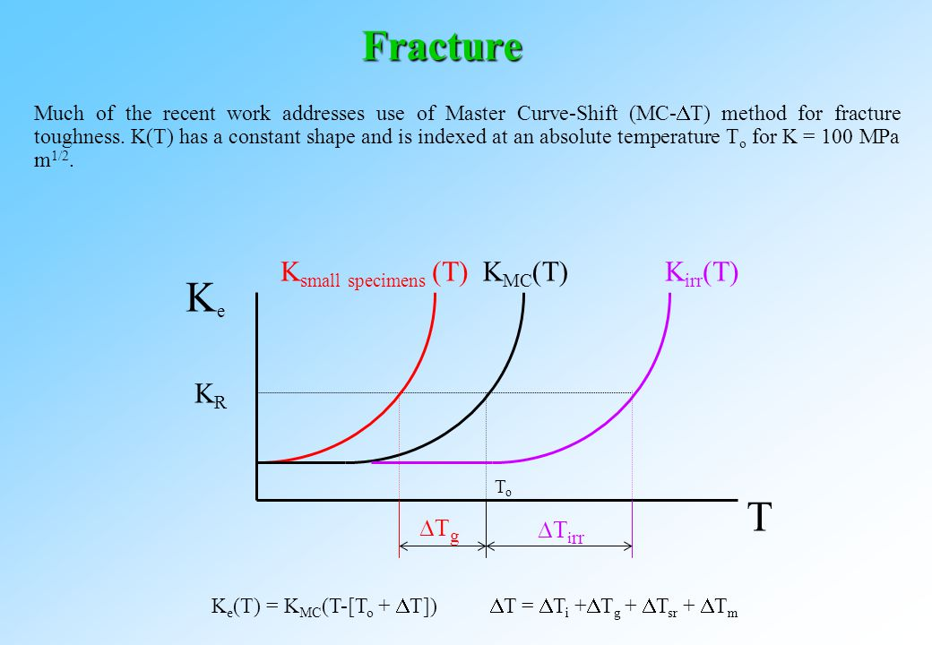 Fracture Much of the recent work addresses use of Master Curve-Shift (MC-  T) method for fracture toughness.